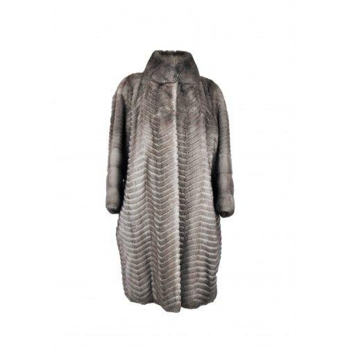 Cappotto in visone a righe lunghe Zerimar - 2