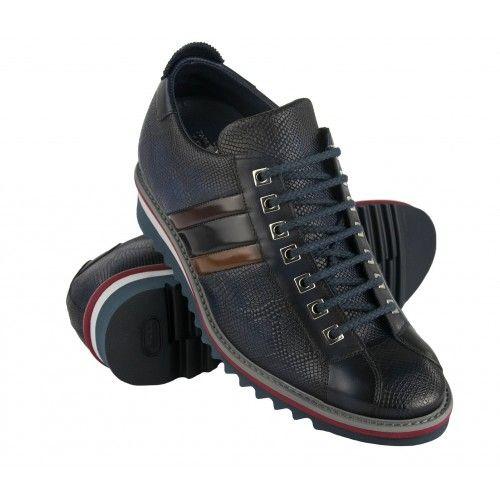 Sneaker in pelle con rialzo interno 7 cm con bandiera Zerimar - 1