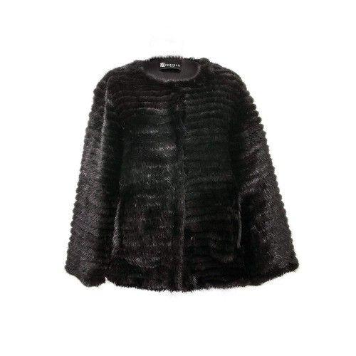 Cappotto Vison per donna nero
