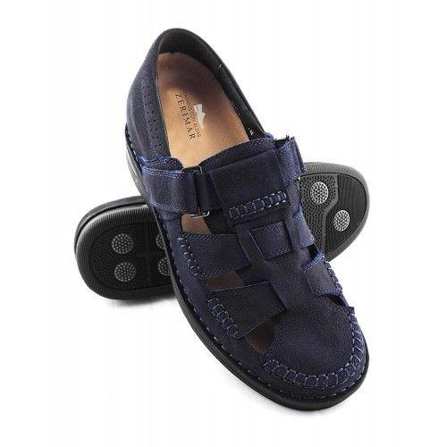 Sandali da uomo in pelle con rialzi che aumentano l'altezza di 7 cm Zerimar - 1