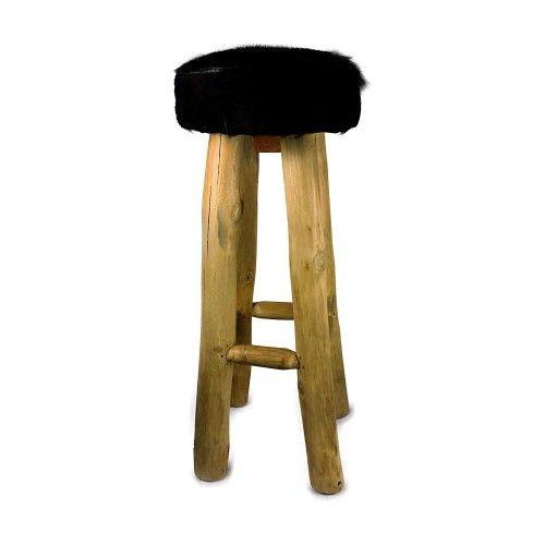 Sgabello in legno di teak rivestito in pelle di capra naturale 30x30x75 cm Zerimar - 1