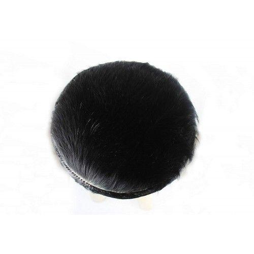 Sgabello in legno di teak rivestito in pelle di capra naturale 30x30x75 cm Zerimar - 2