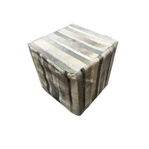 Sgabello imbottito rivestito in mucca naturale 45x45x45 cm Zerimar - 1