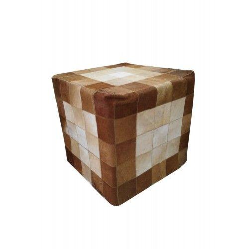 Sgabello in legno di teak rivestito in pelle bovina 45x45x45 cm Zerimar - 1
