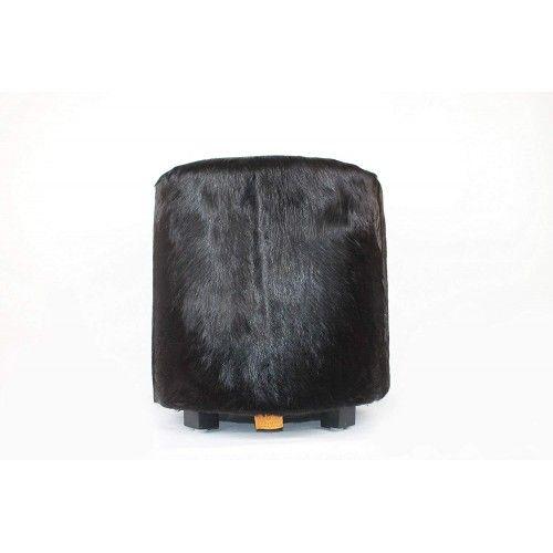 Sgabello in legno di teak rivestito in pelle di capra 40x40x45 cm Zerimar - 1