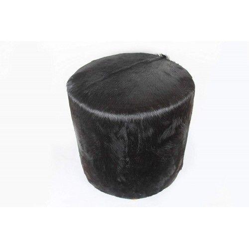 Sgabello in legno di teak rivestito in pelle di capra 40x40x45 cm Zerimar - 2
