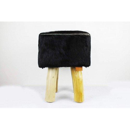Sgabello in legno di teak rivestito in pelle di capra che misura 30x30x45 cm Zerimar - 1
