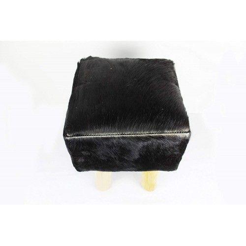 Sgabello in legno di teak rivestito in pelle di capra che misura 30x30x45 cm Zerimar - 2