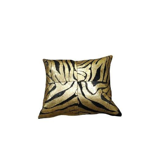 Cuscino metallico in pelle di vacchetta per decorazione riempito incluso 40x40 cm Zerimar - 1