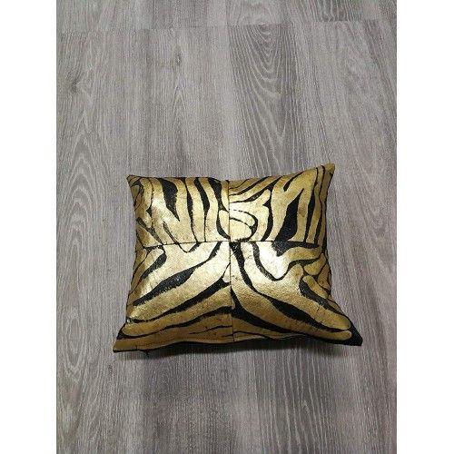 Cuscino metallico in pelle di vacchetta per decorazione riempito incluso 40x40 cm Zerimar - 2