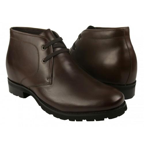 Stivali di pelle con riser marroni da 7 cm Zerimar - 1