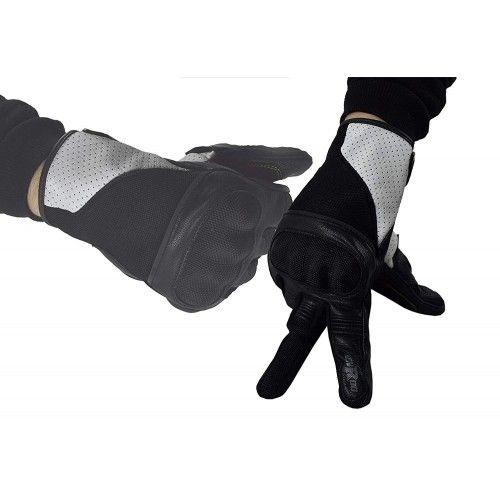 Guanti da moto in pelle e tessuto con protezioni Kenrod - 1