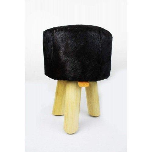 Confezione da due sgabelli in legno rivestito in pelle di capra naturale 30x30x45 cm B Zerimar - 2