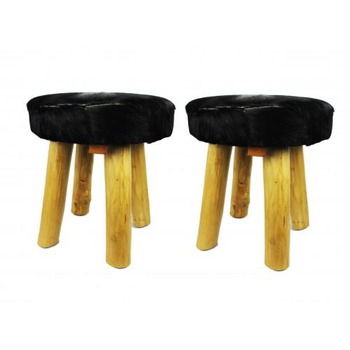 Confezione da due sgabelli in legno rivestito in pelle nero Zerimar - 1