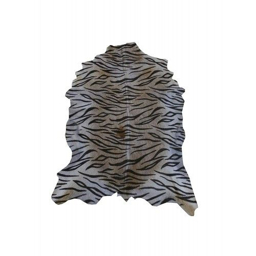 Tappeto in pelle di capra naturale 100x75 cm imitazione stampa Tiger Zerimar - 1