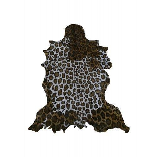 Tappeto in pelle di capra naturale 100x80 cm imitazione stampa leopardo Zerimar - 1