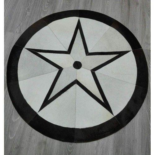 Tappeto patchwork in pelle bovina diametro 118 cm Zerimar - 2