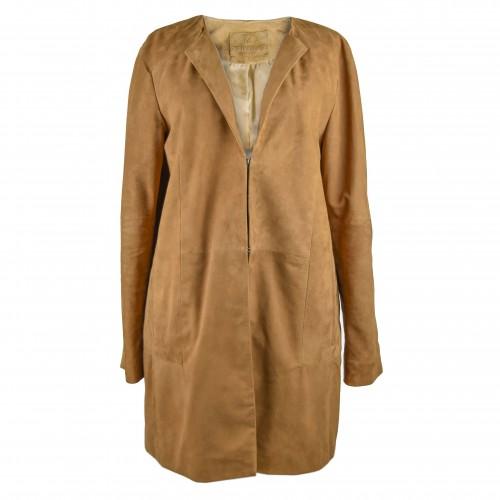 Cappotto in pelle scamosciata per donna con scollo tondo e chiusure invisibili Zerimar - 1