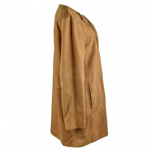 Cappotto in pelle scamosciata per donna con scollo tondo e chiusure invisibili Zerimar - 2
