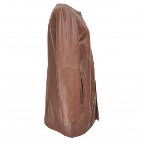 Cappotto in pelle per donna con scollo tondo e chiusure invisibili Zerimar - 2