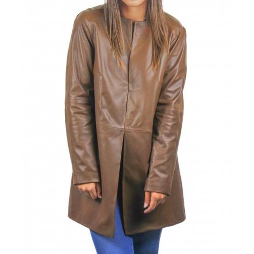 Cappotto in pelle per donna con scollo tondo e chiusure invisibili Zerimar - 1