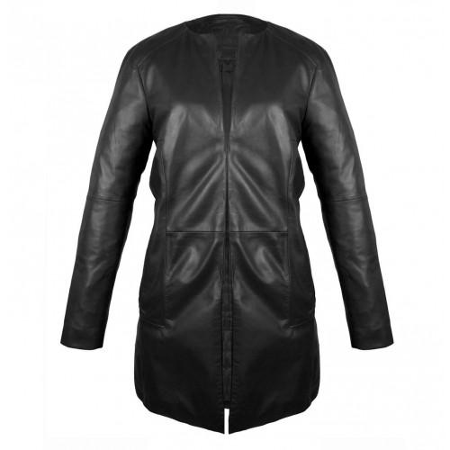 Cappotto in pelle nera con chiusura a gancio Zerimar - 1