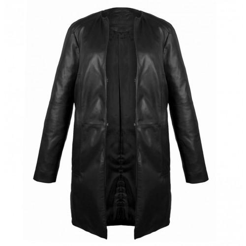 Cappotto in pelle nera con chiusura a gancio Zerimar - 2