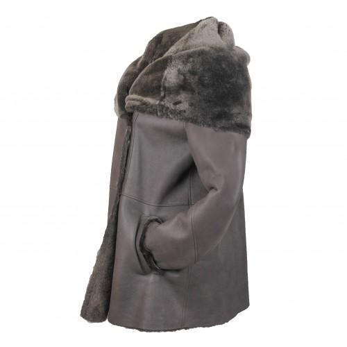 Cappotto in pelle double face per donna con chiusura laterale con bottoni Zerimar - 2