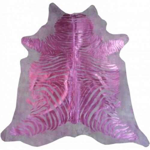 Tappeto in vacchetta naturale 225x205 cm rosa zebra metallizzato Zerimar - 1