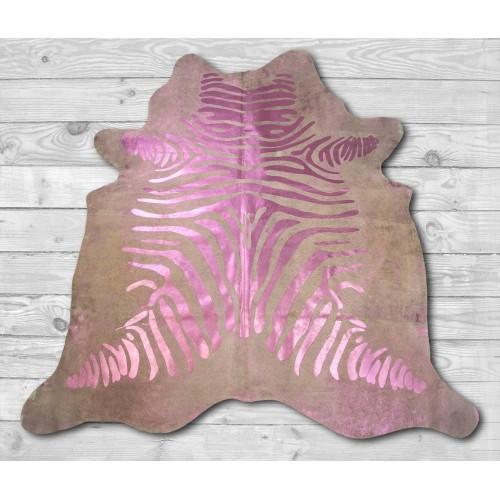 Tappeto in vacchetta naturale 215x215 cm con stampa zebrata Zerimar - 2