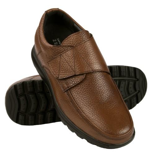 Scarpe in pelle con velcro e rialzi interni che aumentano l'altezza di 7 cm Zerimar - 1