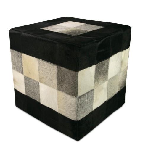 Sgabello imbottito con pelle bovina misura 45x45x45 cm modelo tricolore Zerimar - 1