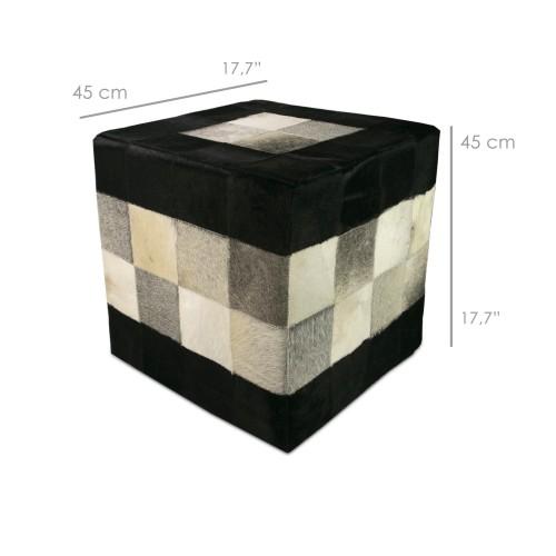 Sgabello imbottito con pelle bovina misura 45x45x45 cm modelo tricolore Zerimar - 2