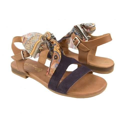 Sandali bassi in pelle con fiocco e fibbia modello DELHI Zerimar - 1