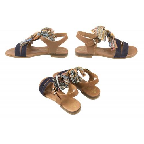 Sandali bassi in pelle con fiocco e fibbia modello DELHI Zerimar - 2